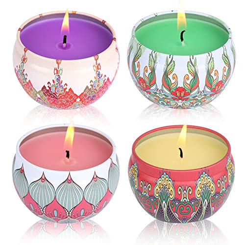Scented Candles Set and Aromatherapy Candle Lotus, Peach, Grapefruit, Jasmine,Natural Soy Wax Portable Travel Tin Candle for Stress Relief,4 Pack By Duomishu