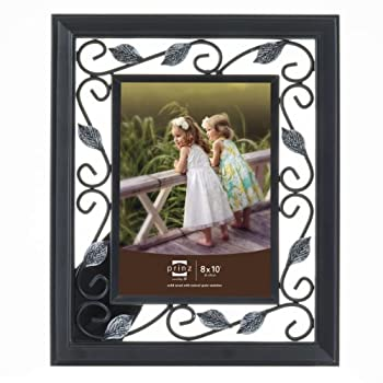 Prinz Hawthorne Black Solid Wood Frame with Antique Silver Metal Accents, 8 by 10-Inch