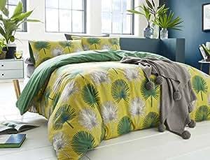 Hojas de palmera geométrico hoja verde, relleno de 100% algodón doble (Plain White–Sábana bajera 137x 191cm + 25) 4piezas Juego de cama