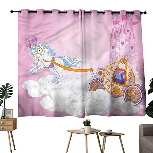 Diycon Simple Curtain Princess Fairy Tale Carriage in Sky Durable W55 xL45 Suitable for Bedroom Living Room Study,etc