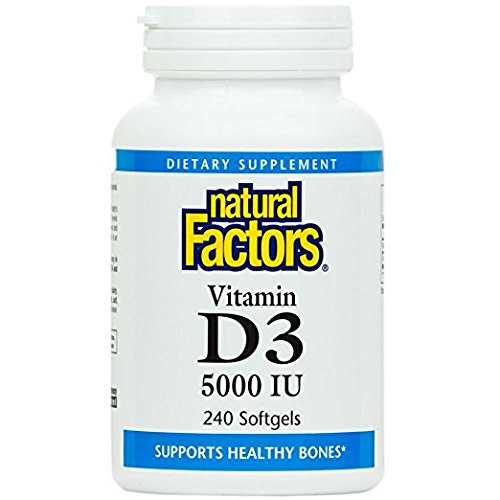 Natural Factors - Vitamin D3 5000 IU, Supports Healthy Bones, 240 Soft Gels
