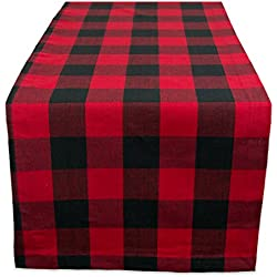 "Cotton Buffalo Check Table Runner for Family Dinners or Gatherings, Indoor or Outdoor Parties, & Everyday Use (14x108"", Seats 8-10 People), Red & Black"