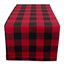 "DII Cotton Buffalo Check Table Runner for Family Dinners or Gatherings, Indoor or Outdoor Parties, & Everyday Use (14x108"", Seats 8-10 People), Red & Black"