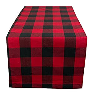 """DII Cotton Buffalo Check Table Runner for Family Dinners or Gatherings, Indoor or Outdoor Parties, & Everyday Use (14x108"""", Seats 8-10 People), Red & Black"""