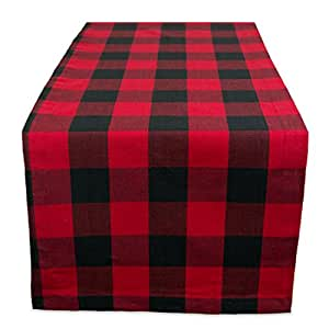 """DII 14x108"""" Cotton Table Runner, Red and Black Buffalo Check - Perfect for Farmhouse Décor, Picnics, BBQs, Summer Events, Showers, Dinners Parties, and Everyday Use"""