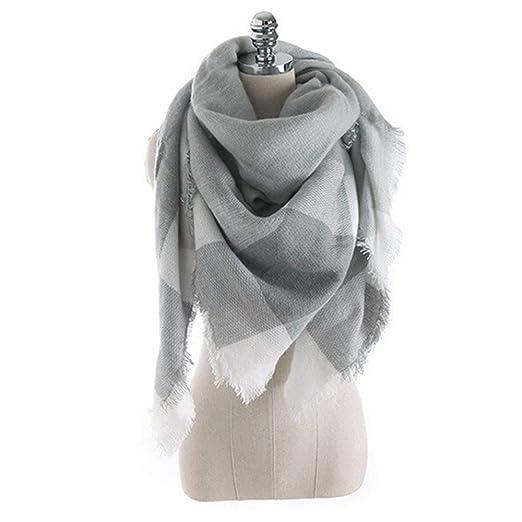 Frideko Square Scarf - Women s Winter Fall Scarf Cozy Scarves Fashion Plaid  Blanket Soft Warm Thin b5d1133ac