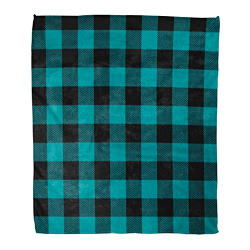 - Golee Throw Blanket Blue Autumn Teal Buffalo Plaid Black Bright Cabin Check Checkered 50x60 Inches Warm Fuzzy Soft Blanket for Bed Sofa