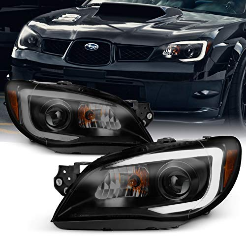 For 2006-07 Subaru Impreza LED Daytime Running Lamp Strip Projector Headlights Black Housing Smoked Lens Full Set