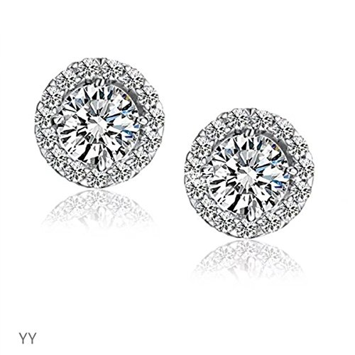 Crystal White Gold Earrings - 18k White Gold Gp Austria Swarovski Crystal Lady Wedding Engagement Earrings Studs E373
