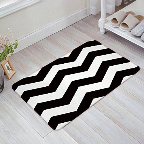 Modern Doormat, Black and White Zigzag Chevron Wave, Decorative Felt Floor Mat with Non-Skid Backing, Fit for Home Indoor, Super Absorbent Rugs (18 x 30 Inch)