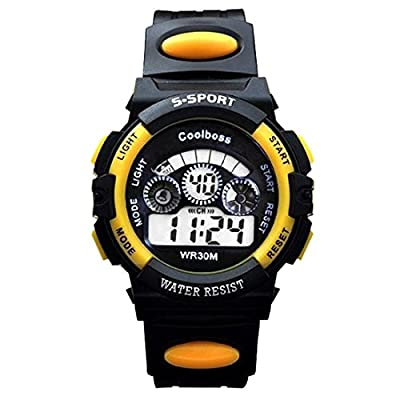 Souarts Yellow Multi Function Digital Chronograp Strap Quartz Watch Electronic Sport Students Watch Big Size 24cm