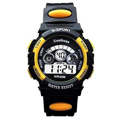 Souarts Yellow Multi Function Digital Chronograp Strap Quartz Watch Electronic Sport Students Watch Big Size 24cm