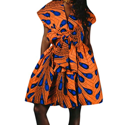 (Goddessvan Women Deep V Neck Dress African Floral Vintage Swing Wrap Dress Belt Orange)