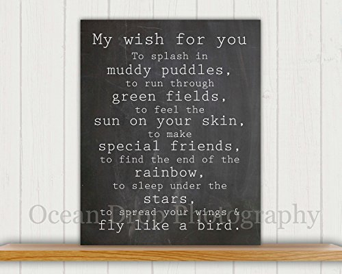 Quot My Wish For You Quot Nursery Art Chalkboard Typography Print