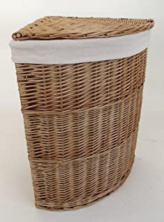 Gentil Medium Wicker Corner Linen Laundry Basket With Removable Lining. Storage  Curved Natural Willow Colou