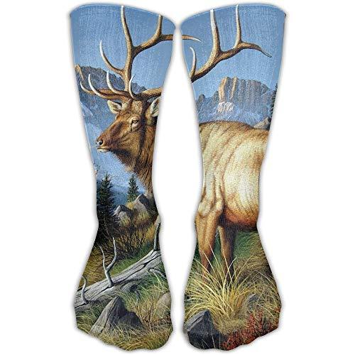 (YUANSHAN Socks Wild Deer with Long Horn Women & Men Socks Soccer Sock Sport Tube Stockings Length)