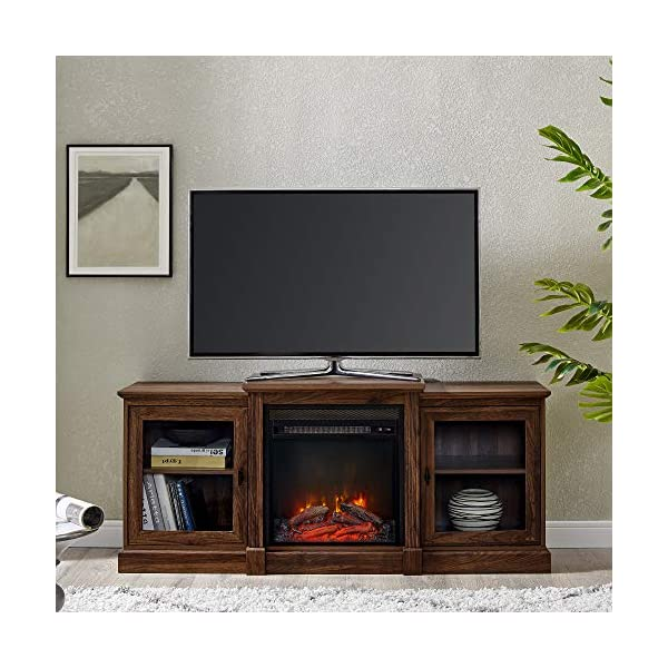 Walker Edison Penn Penn Classic Two Tier Fireplace TV Stand for TVs up to 65 Inches, 60 inch, Dark Walnut