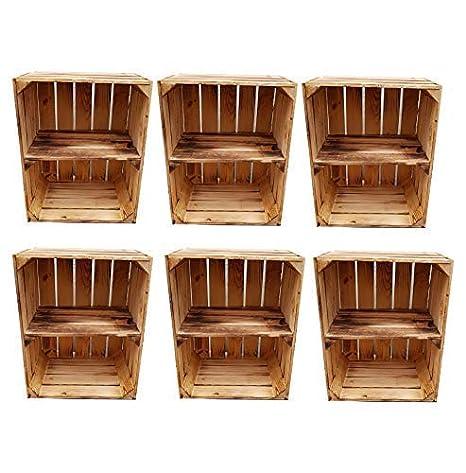 Cajas de madera flameada para uso como zapatero o estantería de libros - Caja de fruta con balda intermedia - Juego de 2 o individual: Amazon.es: Hogar