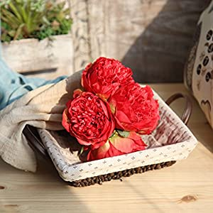 KNDDY Fake Flowers Vintage Artificial Peony Silk Flowers Wedding Home Decoration,Pack of 1 Bouquet 5 Head 48
