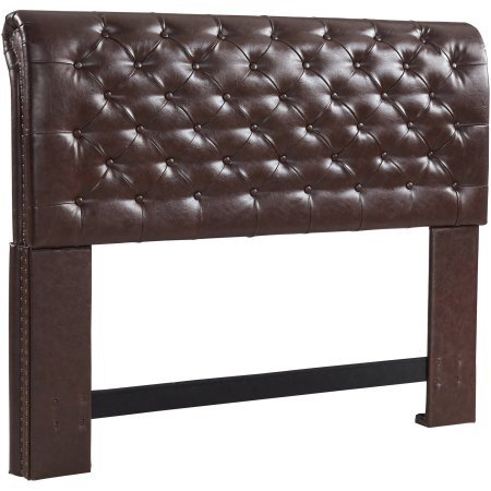Premium High Density Foam Rolled Tufted Headboard, Brown Bonded Leather, King/Cal King