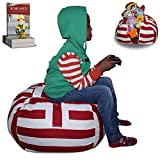 "Stuffed Animal Storage Bean Bag Chair | LARGE SIZE | Finest Storage, Hammock & Organizer for kids' Plush, Jumbo & Cuddly Toys | Premium Quality Cotton Canvas | Free E-Book 30"" (Red/White)"