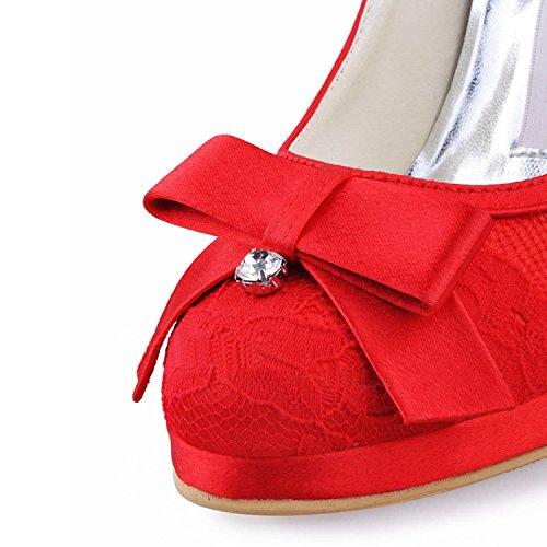 Minishion Dames Mz567 Ronde Neus Naaldhak Kant Bruids Weddiing Platform Schoenen Pomp Rood-10cm Hak