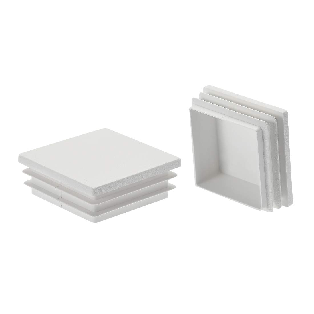 uxcell 8Pcs 50mmx50mm(2inch) Plastic Tubing Plug Square Post End Caps for Handrail Stair Newel Guardrail Tube White