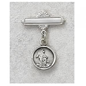 Sterling Silver GUARDIAN ANGEL BABY PIN great baptism christening gift baby badge sterling silver keepsake gift