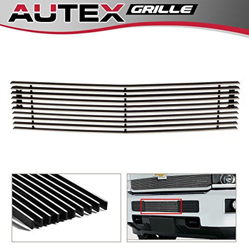AUTEX Lower Bumper Billet Grille Insert Chrome Aluminum Polished C66319A Compatible with 2015 2016 2017 2018 2019 Chevy Silverado 2500HD 3500HD