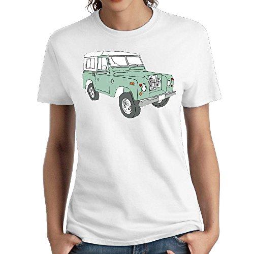 Zzwfi Women Vintage Land Rover Series Humor Jogging White Shirts L Short (Busch Truck Series)