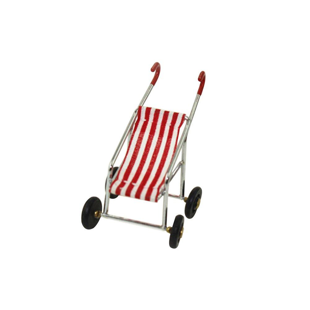 Zmigrapddn casa delle bambole modello giocattoli, 1/12 miniatura carrozzina passeggino Model pretend Play nursery Toys, Red, Baby Carriage 1/12miniatura carrozzina passeggino Model pretend Play nursery Toys