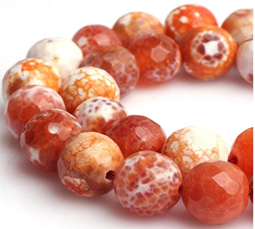 Agate Faceted Teardrop Beads (Top Quality Natural Faceted Red Fire Agate Gemstone Loose Beads 8mm Round Spacer Beads 15.5