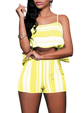 02f71437707ed Image Unavailable. Image not available for. Color  Romacci Sexy Women Two- Piece Set Stripe Spaghetti Strap Off The Shoulder Ruffle Crop Top