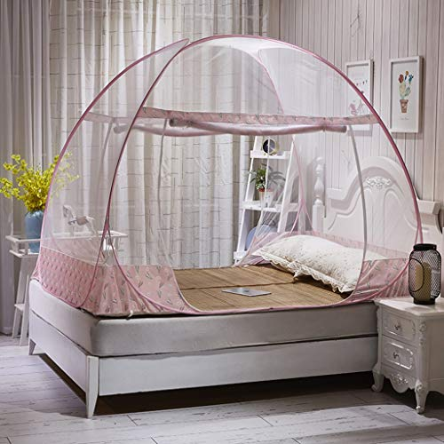 - Foldable Zipper Nets Bed Bed Type Simple Children's Mosquito 1.2/1.5/1.8 M Double Door (Color : Pink, Size : 120x200cm)