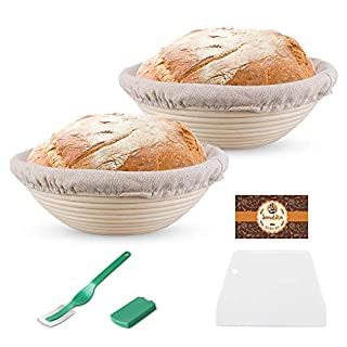 Sondiko Banneton Proofing Basket 8.5 Inch, Bread Proofing Basket, Sourdough Proofing Basket with Dough Scraper, Bread Lame, Linen Liner Cloth for Professional & Home Bakers, 2 Pack