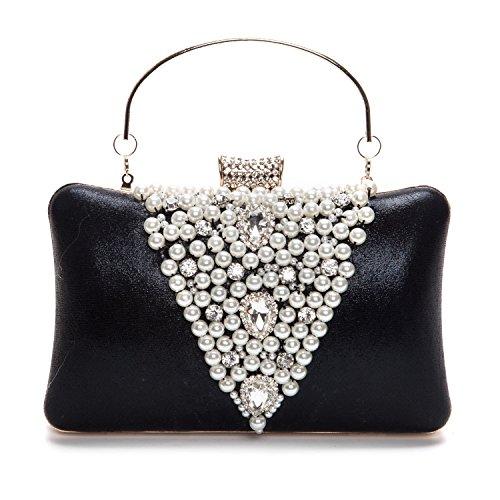 Lifewish Women's Elegant Envelope Rhinestones Hard Clutch Pearl Evening Bag for Women 2017 New Handbags Black