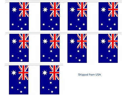 30' Australia String Flag Party Bunting Has 30 Australian 6''x9'' Polyester Banner Flags Attached, Popular For School Classroom, Special Events, Bars, Restaurants, Country Theme Parties by World Flags Direct