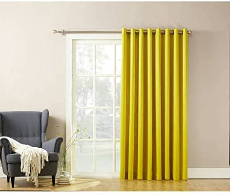 1Pieza 84 citrina Solid Color extra ancho cortina de puerta ...