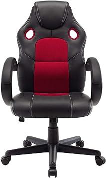 Fauteuil Chaise de Bureau Ordinateur Roulettes Pivotante Ergonomique Tissu Rouge