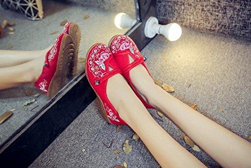 Rot Schuhe Spitze Waling Lazutom Wedges Tanzen Runde Vintage Damen Lady Blumenstickerei x677qzvBn