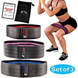 Taigod Resistance Hip Bands Circle Set of 3 with Carrying Bag - Stretchable Fabric, Non-Slip Elastic Inner Layer - Strength Training and Physical Workout - Fitness Loops for Butt and Legs