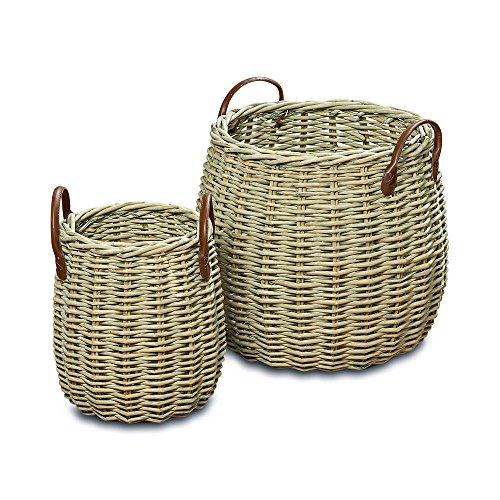 The Cape Cod Wicker Belly Baskets, Set of 2, Faux Leather Side Handles, Storage and Display, Distressed White Willow, 17 3/4 and 11 Inches Tall, By Whole House Worlds