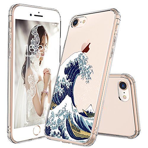 MOSNOVO iPhone 8 Case, iPhone 7 Case, Tokyo Wave Clear Design Pattern Printed Transparent Plastic Hard Back Case with TPU Bumper Protective Case Cover for Apple iPhone 7 (2016) / iPhone 8 (2017) ()