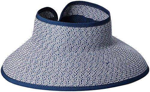 San Diego Hat Company Women's Ultrabraid Visor With Ribbon Binding, and Sweatband, navy white, One Size