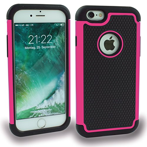 iPhone 6(4.7) Coque Outdoor Étui Coque hybride Bocaux Bumper Film de protection d'écran Noir Black Light Rose