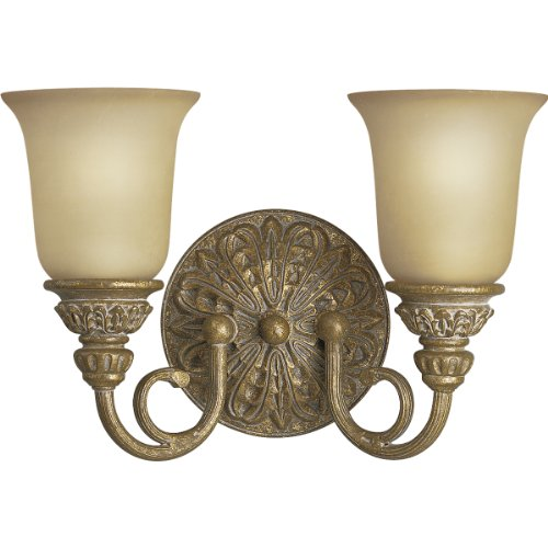 Progress Lighting P3032-62 Two-Light Cast Bath Fixture with Antique Stone Etched Glass, Creme Brulee - Light Bath Bracket Creme