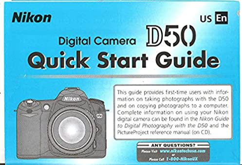 nikon d50 digital camera quick start guide instructions original rh amazon com Blip Scale User's Guide Paperwork Guide