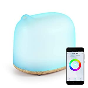 YHW Smart WiFi Essential Oil Diffuser & Table Lamp, 300 mL Cool Mist Humidifier & RGB Night Light, Off Timer, Scheduling, Auto Shut-Off, Compatible with Amazon Echo & Google Home, Light Wood Color