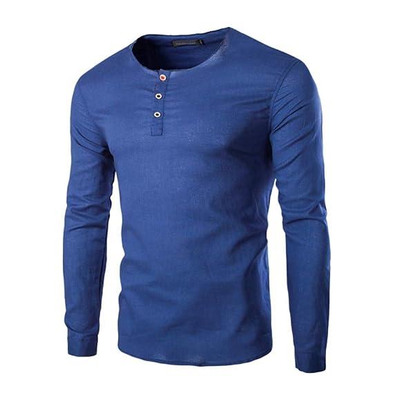 Yivise Camisa de otoño para Hombre de Moda de Manga Larga Casual ...