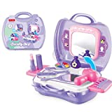 Kids Pretend Play Makeup Vanity Case With Mirror Cosmetic Toy Set Pretend Beauty Dress-up Salon Hair Dryer Suitcase for Little Girls Toddlers 1 Set of 19 Pcs